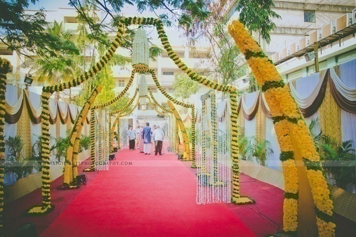 Give Your Guests A Sense Of Charm Even Before They Enter - Passageway Marigold Flower Decoration