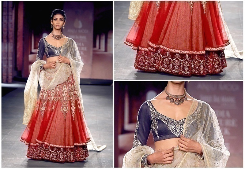 Indigo Embroidered Blouse with A Net Overlay Red Lehenga