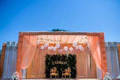 peach and pastel wedding decor