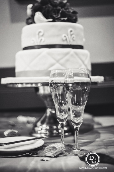 Customized champagne glasses for the couple's toast celebration