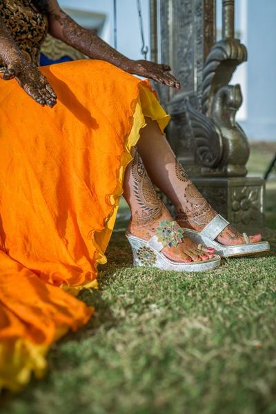 Silver embellished bridal wedges sandals for the mehendi ceremony