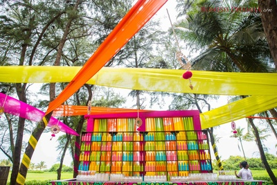 Quirky and colorful bar at the sangeet ceremony!