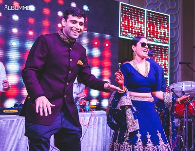 Akshay and Monik at a performance on their sangeet night.