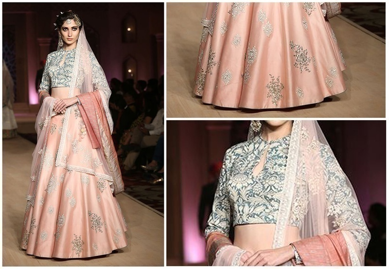 Blue Persian Print Blouse with Embroidered Blush Pink Lehenga