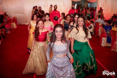 Bride and the Bridesmaids on their way to the Sangeet stage
