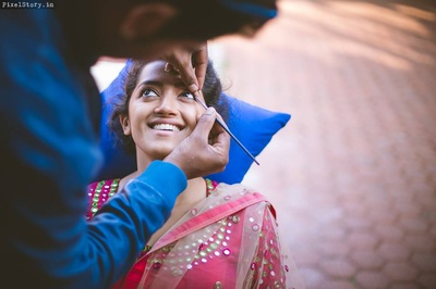 Megha getting ready for the sangeet ceremony held at Shibravyi.
