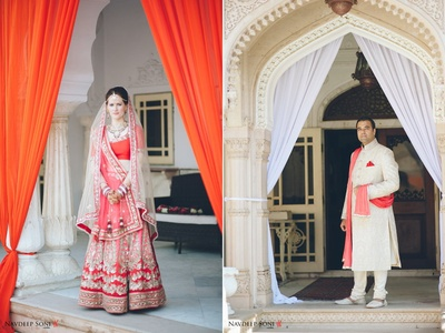 Pink ombre wedding lehenga embellished with sequined motifs, and thread work by the ace designer Sabysachi Mukherjee