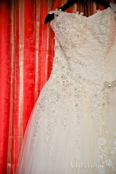 Embellished white wedding gown