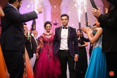 Entering the wedding reception with joy.