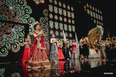 The couple's family performing in-style at the grand sangeet celebration!
