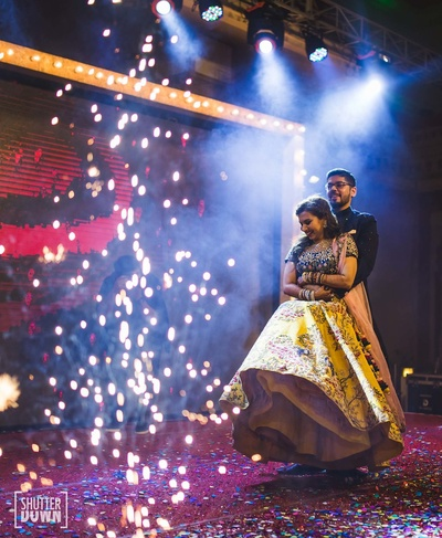 Bride and groom in their sangeet dance performance