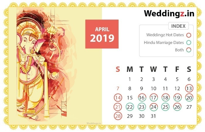 Marriage Dates in 2019, March Hindu Marriage dates - 2nd, 7th, 8th, 9th, 13th