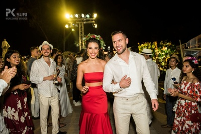 Prianka and Nicolas make their entry at their 'Havana Night' themed Welcome Dinner.