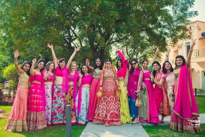 candid shot of bride with bridesmaids