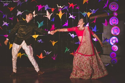 Dance performance by Bride and Groom on their sangeet ceremony.