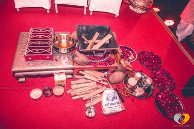 Pooja essentials- Wooden piri, Shreefal, ghee, Havan Kund, sandal wood, kumkum and rose petals