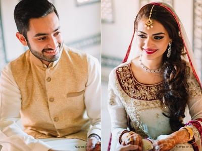 Portraits of the bride and groom ready on their wedding day