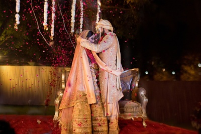 The bride and groom during their jaimala ceremony.