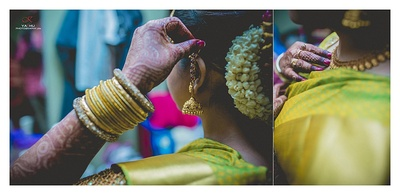Decked in gold bangle set, gold jhumka drop earrings, kempu studded ear chain and mogra braided hairstyle