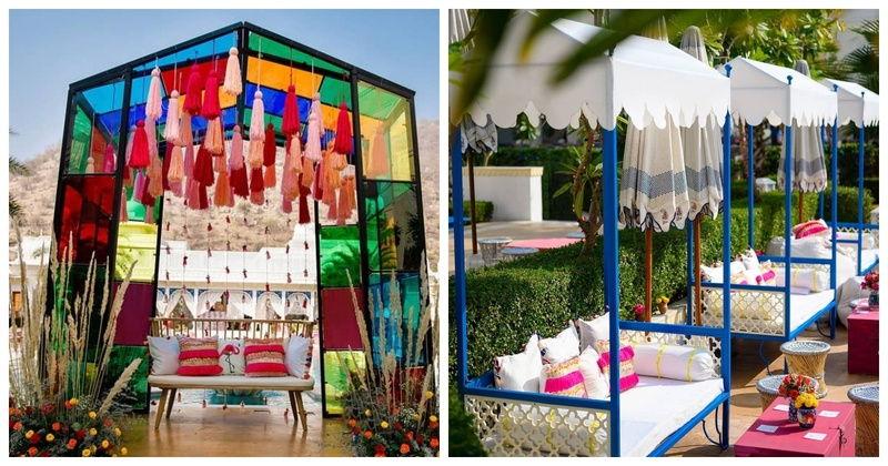 This Poolside Mehendi had a Stunning Glasshouse and Offbeat Decor