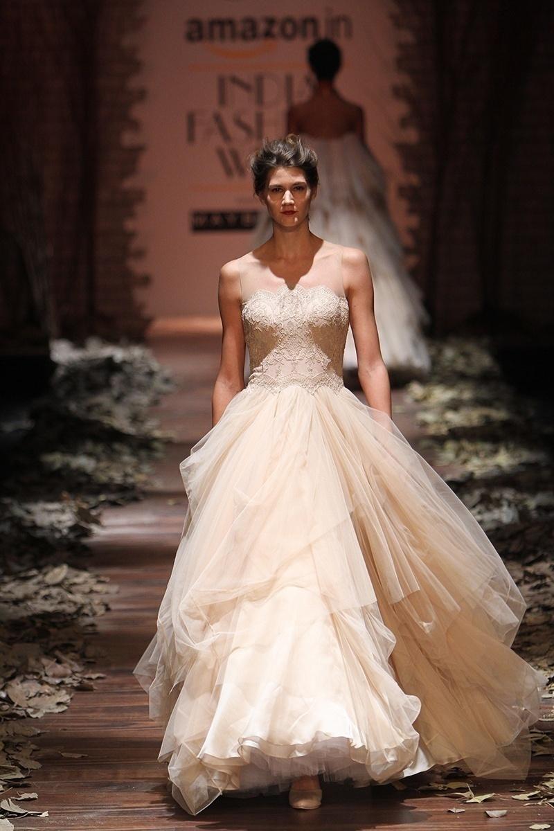 Gorgeous Illusion Neckline Ivory White Wedding Gown