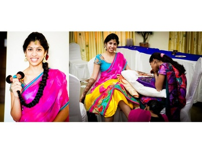 Dressed in a mix- matched lehenga in hues of aqua, fuchsia and sunny yellow for the mehendi ceremony