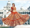 Variation Orange Georgette Bridal Lehenga Choli image