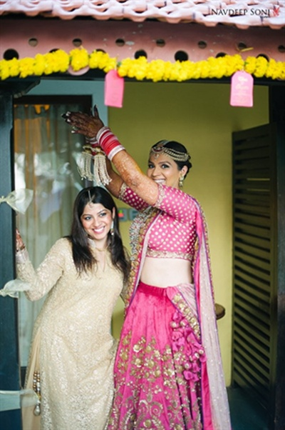 Gayatri having some fun with her bridesmaid