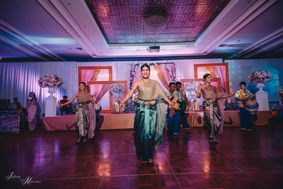 Traditional dancers perform during the reception