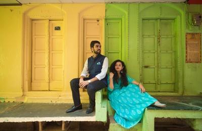 the couple's Banaras pre-wedding photoshoot