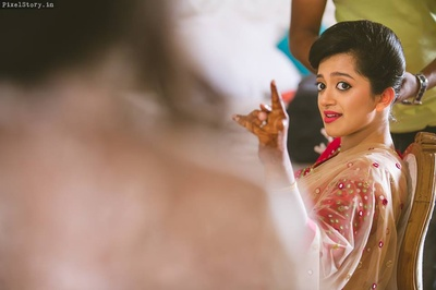 Megha getting ready for her sangeet ceremony.