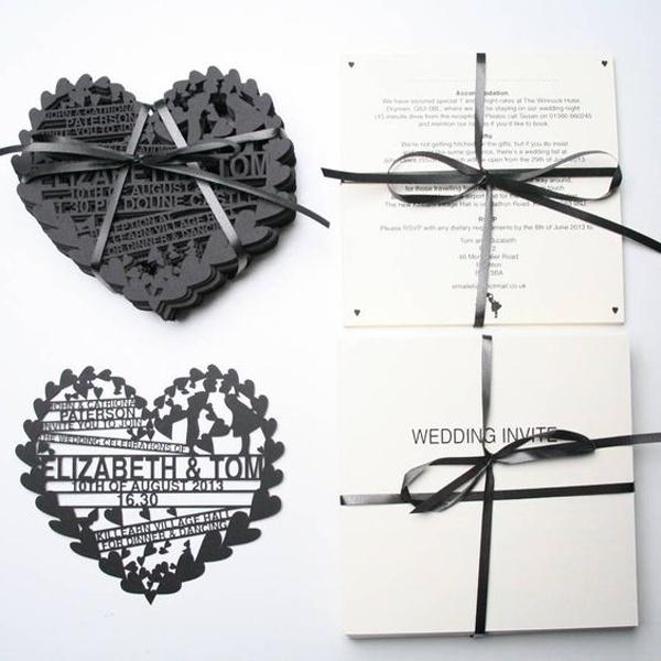 Heart Laser Cut Wedding Invitations