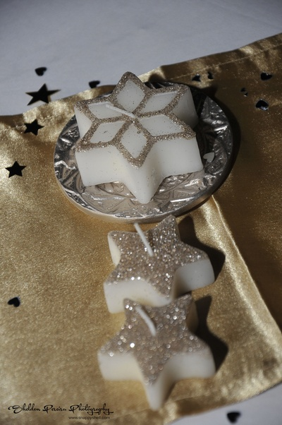 Star shaped glittery candles