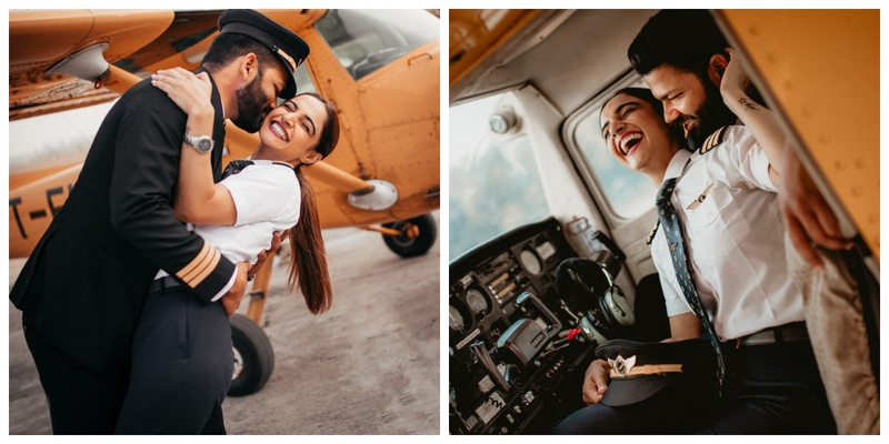 This pilot couple got their pre-wedding shoot in their respective uniforms and I am totally in love with it!