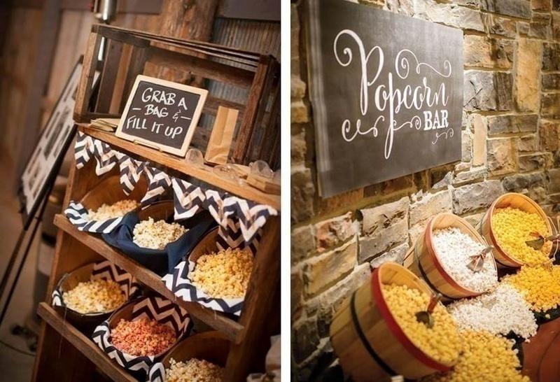 Wedding food bar idea: POPCORN COUNTERS