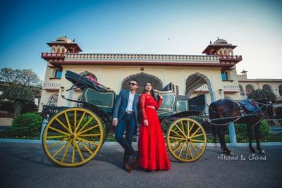 Bride and groom pose together for their pre wedding shoot at Taj Jai Mahal Palace, Jaipur