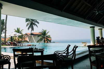 The scenic infinity pool at the Leela, Kovalam