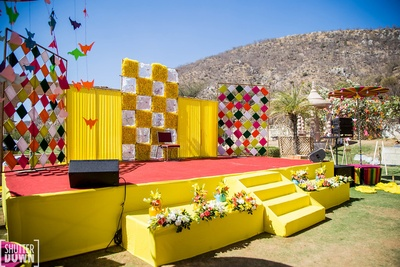 Beautiful yellow decor for the mehndi ceremony