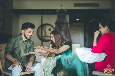Candid picture of the couple during the mehendi