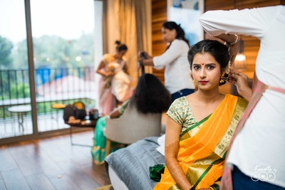 Traditional bride getting ready for the wedding ceremony at Novotel, Goa