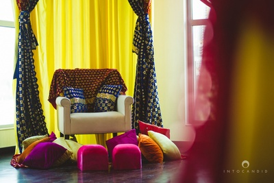 Colorful decor for the mehendi ceremony.