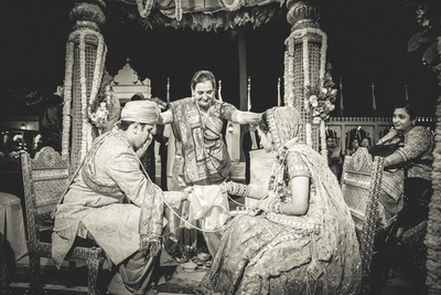 Blessing from the elder after the marriage ceremony