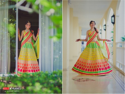 Lovely photography of a beautifully styled bridal lehenga with neon colors became the attraction of the day.