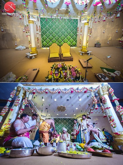 Vedi mandap decorated with Tube Roses in mesh style with floral hangings