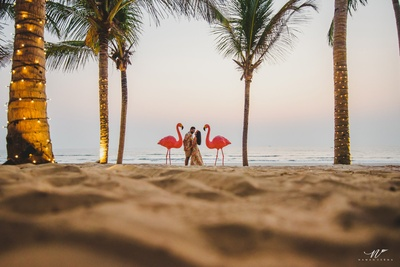 romantic picture of the couple at the beach