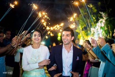 The adorble couple, entering the engagement ceremony in style!