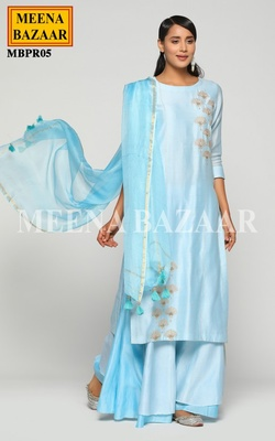 Meena Bazaar Ice Blue Chanderi Sharara set