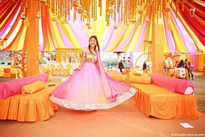 Bridal mehendi outfit ideas. Pink ombre floor length Anarkali design