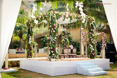 Mandap decor using florals and lights at Della Resorts, Lonavala