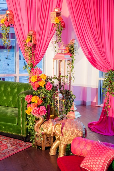 pretty pink and olive green decor for the garba/sangeet night